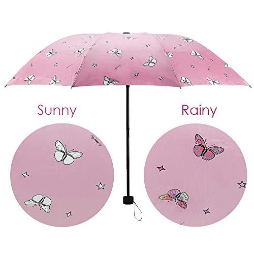 DIFFLIFE Umbrella for Kids Cute Print Color Changing Umbrella Anti-UV Windproof Waterproof Umbrella for Outdoor UseButterfly Pink (DAYUN)