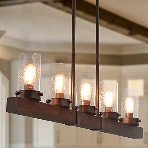LNC Kitchen Light Fixtures, Farmhouse Chandelier Over Island in Rustic Wood and Metal, Glass Pendant for Dining Room
