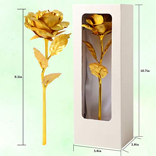 JOBOSI Rice White Box Golden 24K Gold Rose Flower Unique Gifts for Women Galaxy,Gift for Her/Wife/Mom/Girlfriend/Girl in Valentines Day, Mothers Day, Anniversary, Wedding, Birthday Silk Flower Arrangements