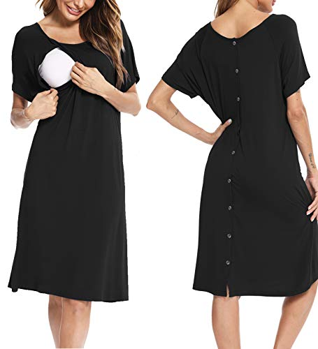 SWOMOG Womens 3 in 1 Nursing Dress Maternity Nightgown Labor/Delivery Breastfeeding Birthing Gown with Button Black