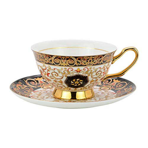 ACOOME Tea Cup and Saucer Set-6.8oz Bone China Northern Europe Romantic Style Teacup Fine Dining and Table Decor