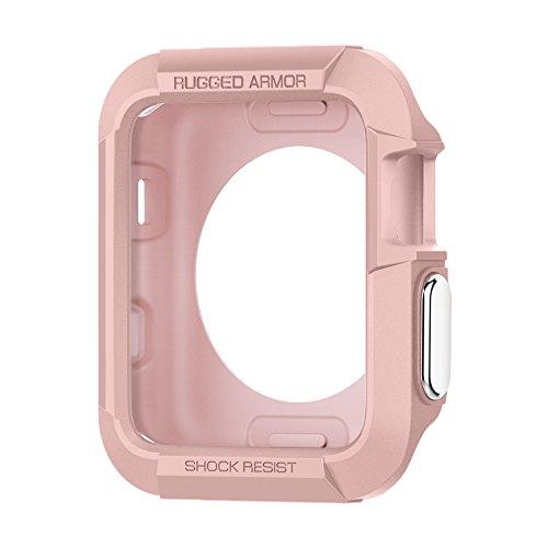 Spigen Rugged Armor Compatibile con Apple Watch Custodia per 38mm Serie 3 / Serie 2/1 / Originale (2015) - Oro Rosa