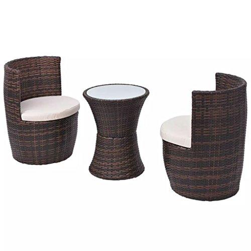 Lasamot Pratico Set di tavoli e sedie in Rattan per esterno, Tavolo e sedie in Resina intrecciata Marrone e Bianca * 1 sedia * 2 con 2 cuscini di seduta