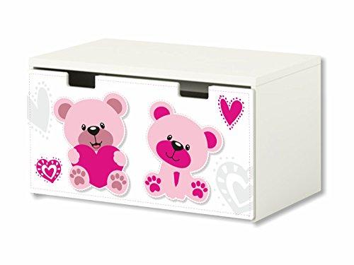 Mundo rosa pegatinas para muebles   BT17   adecuado para el arcón de banco STUVA de IKEA para niños (90 x 50 cm)   Perfecto como arcón de juguetes y banco   pegatina   (mueble no incluido) STIKKIPIX