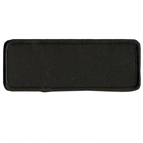 """BLANK with BLACK TRIM, Saw-On Rayon PATCH - 4"""" x 1.5"""", Exceptional Quality"""