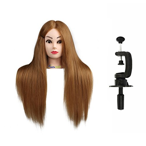 Maniquí de Cabeza para practicas de peluquería con cabello pelo humano (56cm #01)
