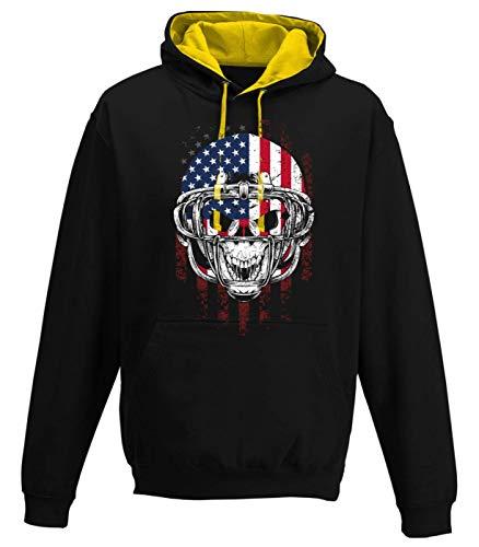 Preisvergleich Produktbild Shirt Happenz Any Given Sunday Skull Football Super Bowl Play Offs Premium Varsity Hoodie Pulli Kontrasthoodie Kapuzenpullover,  Größe:L,  Farbe:Schwarz Gold JH003