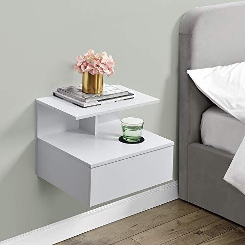 [en.casa] Wandschrank mit Schublade in Weiß Wandnachttisch 40x35x31cm Nachttisch Hängeschrank Wandregal Ablage Schweberegal Schubladenregal