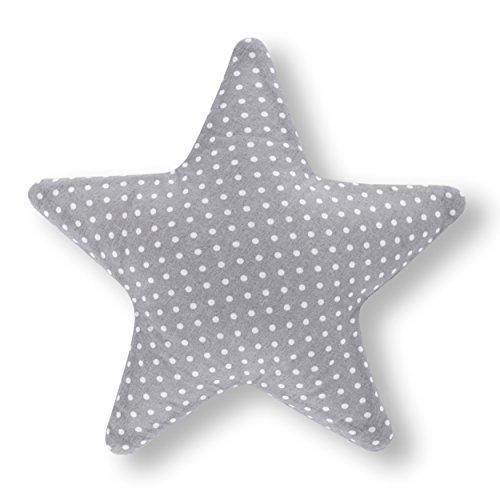 Amilian® Kissen Stern Pünktchen KLEIN Grau Dekokissen Kuschelig Flauschig ca. 28 cm