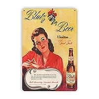 ブリキ メタル プレート サイン 2枚 Blatzビール広告13ヴィンテージブリキ看板、レトロな金属看板壁プラーク装飾バーレストランの家の装飾壁画ポスター、8x12インチの面白いギフト