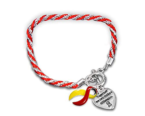 Fundraising For A Cause   Coronavirus Awareness Ribbon Rope Style Charm Bracelets – Bulk Red & Yellow Ribbon Bracelets for Coronavirus Awareness, Fundraising & Gift-Giving (10 Bracelets)