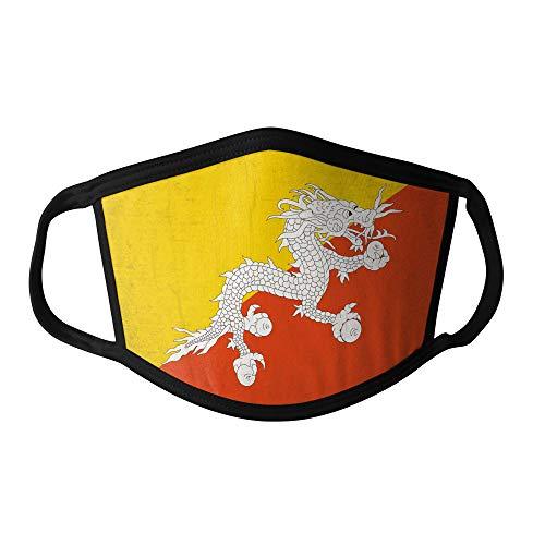M&schutz Maske Stoffmaske Klein Asien Flagge Bhutan/Bhutanese Wiederverwendbar Waschbar Weiches Baumwollgefühl Polyester Fabrik Schwarze Naht Trimmen