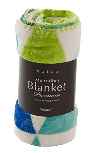 mofua (モフア) ひざ掛け ふんわりあったか 静電気防止加工 マイクロファイバー 1年間品質保証 洗える 毛布 北欧 フラッグ柄 グリーン 500006Q9