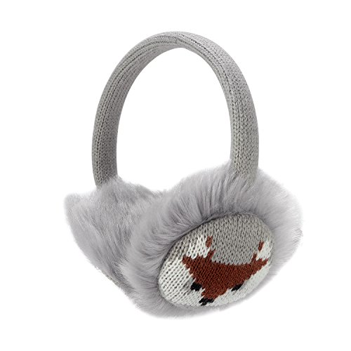 Frauen Mädchen Winter Mode Einstellbare Kunstpelz Ohrenschützer Cartoon Ohrenwärmer (Grau)