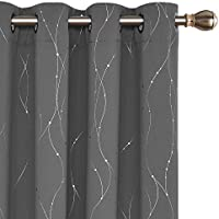 Deconovo Blackout Curtains, Wave Line with Dots Foil Print Curtains, Window Curtains with Grommet for Living Room and Bedroom