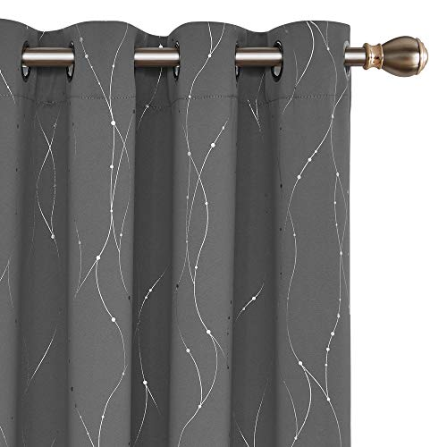 Deconovo Blackout Grommet Curtain Panels with Dots Pattern Energy Saving Room Darkening Curtains for Living Room and Sliding Glass Door 52W x 63L Inch Grey 2 Panels