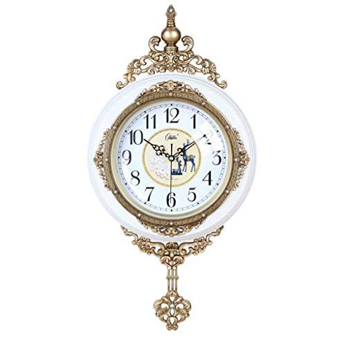 LZL Reloj de Pared Retro Europeo de 20 Pulgadas silencioso sin tictac fáciles de Leer Relojes de Pared Decorativos para la Sala de Estar Decoración de la Oficina de la Oficina Kitche (Color : White)