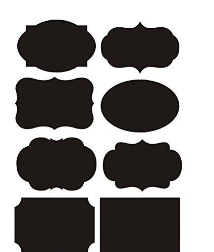 ZUMUii Butterme 40/64/80?Grandes Etiquetas de botonera rectangulares Fancy?¨C?de Pegatinas de Cuadro Negro...