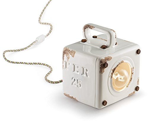 Ferroluce Retrò Lanterna Industrial E27, 77 W, Bianco Lucido, 20 x 18 x 15.5 cm