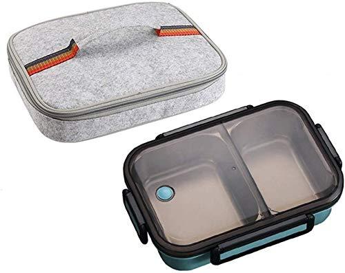 Pkfinrd Lunch Box304 roestvrij staal Bento Box met compartimenten kinderen school witte kraag voedsel container lekvrij voedsel doos een blauwe tas Cup Set