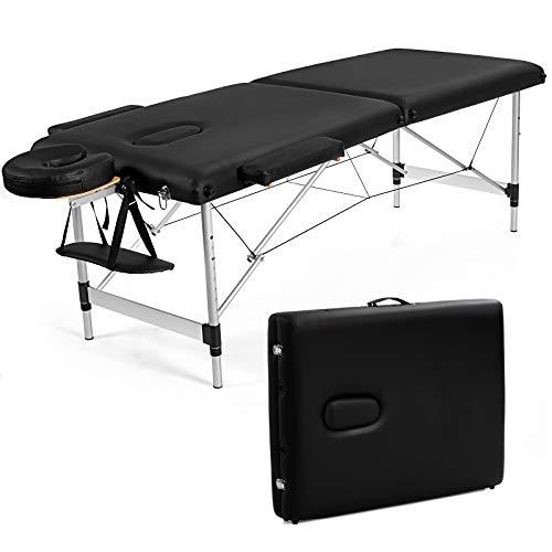 Giantex Portable Massage Table 84inch, Folding Massage Bed Aluminium Frame, Height Adjustable, 2 Fold Professional Facial Salon Tattoo Bed with Face Cradle Armrests Headrest Carrying Bag (Black)