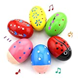 POPLAY 6 PCS Wooden Percussion Musical Egg Maracas Egg Shakers Halloween Props Random Patt...