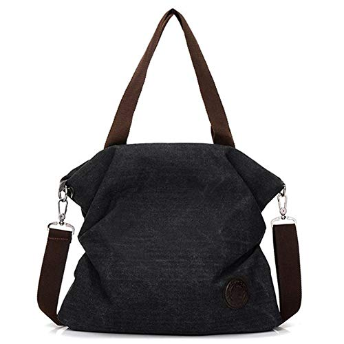L-sister Bolsa de lona para mujer, estilo informal, plegable, reciclable, bolsa de playa, bolsa de tela de algodón, estilo único (color: negro, tamaño: 38 x 16 x 32 cm)