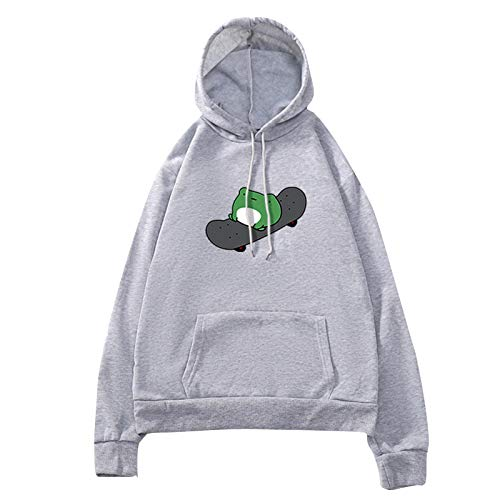 Women's Solid Color Hoodies Cute Printed Sweatshirt Frog Skateboard Cartoon Lovely Printing Long Sleeve Tops Hoodie Pullover with Front Pockets Gray