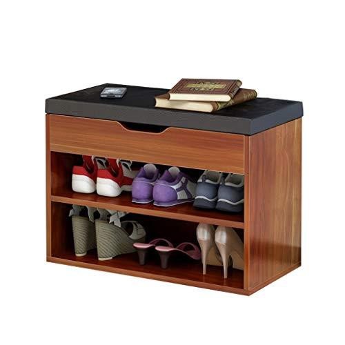 Rack de Zapatos de 2 Niveles Fácil de ensamblar Armario Grande Taburete Taburete Ailin Home (Color : Negro, Tamaño : 60x30x45cm)