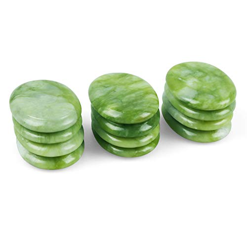 Eikeefyer Small Hot Stones for Massage,100% Natural Green Jade Hot Rocks Massage Stones,Relaxing Healing Pain Relief Smooth Rocks,Home Spa Professional Massage Kit,Pack of 12