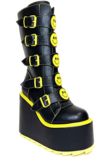 YRU Dune Smiley Platform Boots - Black/Yellow - Rave, Goth, EDM, Festival (numeric_10)