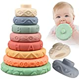 8 Pcs Stacking Rings Soft Toys for Babies Newborn 0 3 4 5 6 12 18 Months 1 Year Old Girls Boys - Toddler Sensory Educational Montessori Baby Blocks - Infant Development Teething Learning Tower