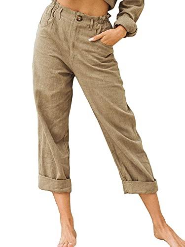 WXMSJN Ropa De Mujer Pantalones Casuales Sueltos De Cintura Alta De Color Liso Mujer