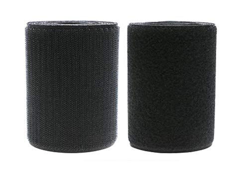 Mini Skater 4 Inch Width Black Sew on Hook Loop Strips Non-Adhesive Back Nylon Fabric Tape Fastener for Bag, Clothes, Shoe, DIY Craft,2 Yard Length