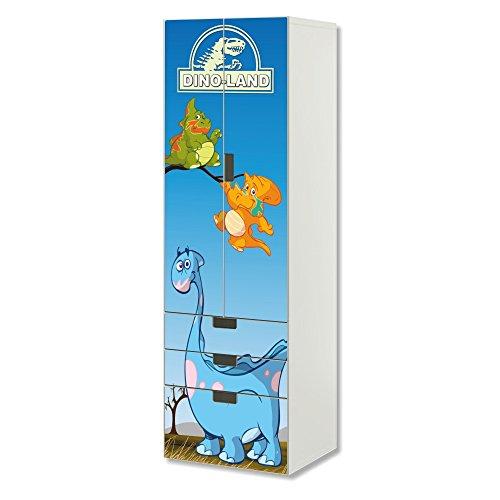 STIKKIPIX Dinosaurier Möbelfolie | SC3K15 | passend für die Kinderzimmer Aufbewahrungskombination STUVA von IKEA | Klebe-Folie passgenau für Schrank und Kommode mit 3 Fächern | Möbel Nicht Inklusive
