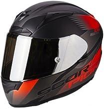 Scorpion Casco de moto EXO 2000 EVO AIR Volcano Plata Negro Rojo fluo, Negro/Rojo, M