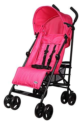 Ding GoGo Kinderwagen, Reisebuggy, Buggy mit Liegeposition, zusammen faltbar, mit Sonnenschutz und Einkaufskorb, ab 6 Monaten, pink