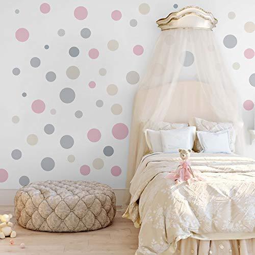 Runtoo Pegatinas de Pared Puntos Stickers Adhesivos Vinilo Lunares Etiqueta Redonda de Círculo Decorativas Infantiles Dormitorio Salon Habitacion Bebe