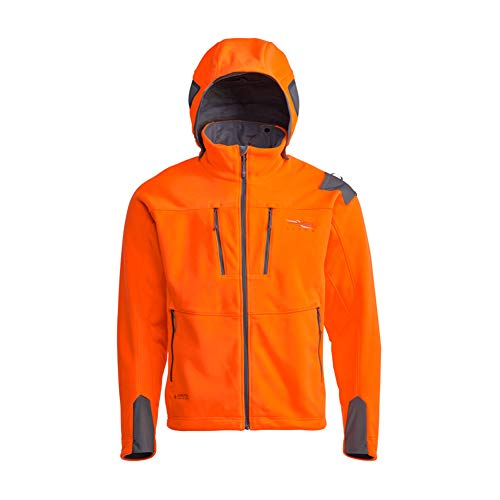 SITKA Gear Men's Stratus Windstopper Water Repellent Ultra-Quiet Fleece Hunting Jacket with Removable Hood, Blaze Orange, Medium