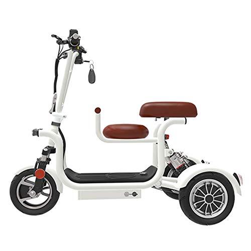 Adulto Bicicleta eléctrica/Plegable Resistente de Alta Carbono Asiento de Acero eléctrico Triciclo con el niño de 10 Pulgadas Neumáticos a Prueba de explosiones DDLS (Color : White)
