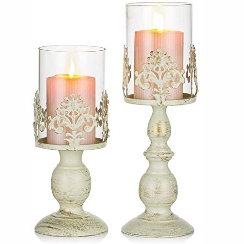 nbkls 2 Pcs Vintage Pillar Holder,Pillar Candle Holder With Glass Cover, Antique Hurricane Candlestick Display For Home Wedding Christmas Party Candlelight Dinner Decoration,black