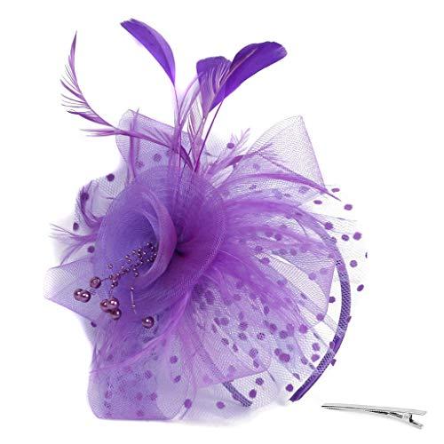 Lazzboy Flapper Great Gatsby Stirnband Pearl Party Braut Kopfschmuck Up Damen 1920s Pfau Feder 20er Jahre Stil Haarband Inspiriert Von Kostüm Accessoires(Violett)
