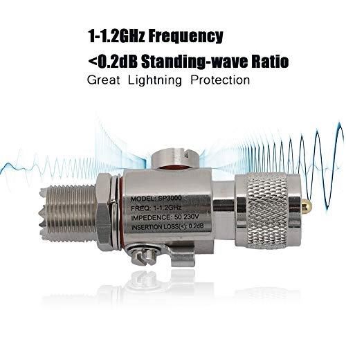 Adaptador de Protector contra sobretensiones de pararrayos de UHF-M a UHF-F 1-1,2 GHz para Antena de Radio