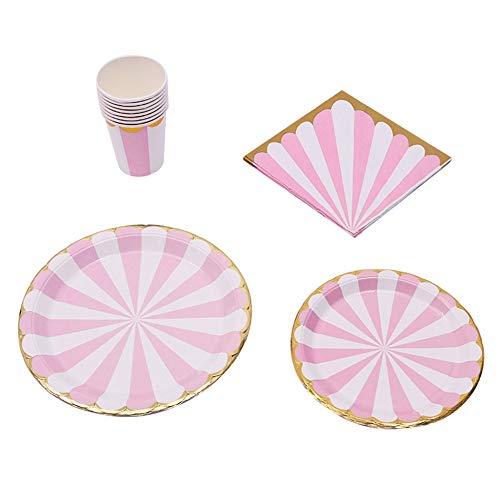 Kit de vajilla de papel, patrón de flor de ciruelo de vajilla para fiesta de niños, boda, fiesta de cumpleaños(Plum pink)