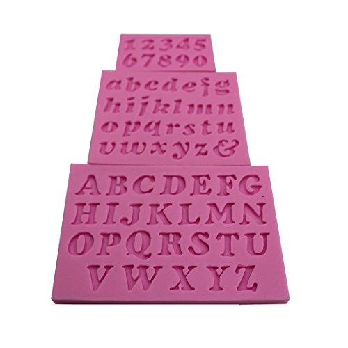 Silikon Kompatibel mit mit Mini-Buchstaben und Zahlen für selbstgemachte Fondant-, Kuchen-Dekoration, zufällige Farbe, 3er-Set-B