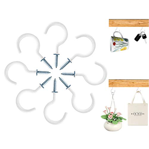15 Pcs Ceiling Hooks Screw Hooks-2 inches Steel Vinyl Cup Hooks-OakMethod Screw-in Hooks for Hanging Light String, Coffee/Tea Cups, Plants, Wind Chimes and Mugs. (White)