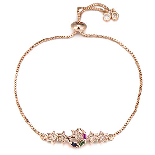 LKITYGF Exquisite Lady Lover Moon And Star Charm Bracelet Copper Cubic Zirconia Slider Chain Bracelet Wedding Party Jewelry (Color : Rose Gold)