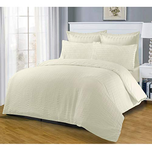 Nimsay Home Harmony SEERSUCKER Quilt Duvet Cover High Puckering Ruched Refined T144 Thread Count Plain Dyed Cotton Blend Reverse Matching Colour Fastness 2 in 1 Bedding Set Pack CREAM KING