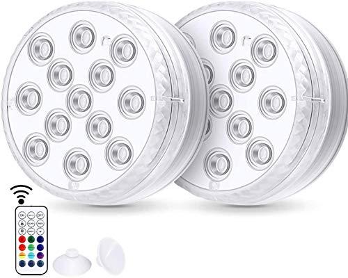 2 piezas de luces LED sumergibles Luces de bañera impermeables con control remoto RF de 164 pies, 8 ventosas, imanes, 13 LED LED 16 luces cambiantes de ducha subacuática de color