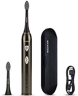 KIVOS Rechargeable Electric Toothbrush, Sonic Electric Toothbrush USB Rechargeable Toothbrush With Travel Case Smart Timer 6 Hours Charge Minimum 60 Days Use (Champagne)